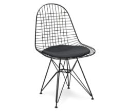 charles and ray eames style dkr black wire chair with black cushion seat