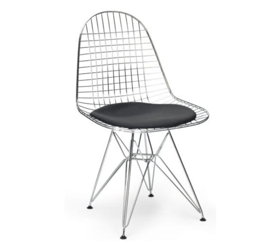 charles and ray eames style dkr wire chair with black cushion seat