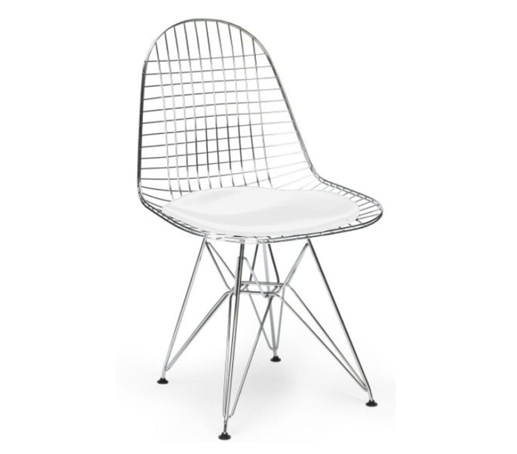 Charles And Ray Eames Style Dkr Wire Chair With White Cushion Seat