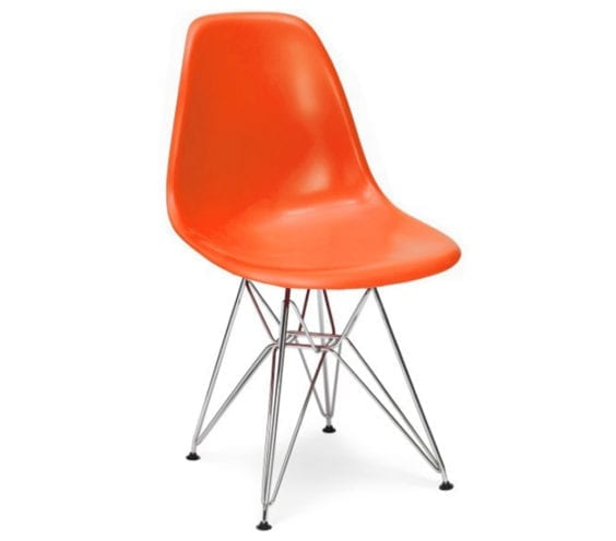 charles and ray eames style dsr chair in orange
