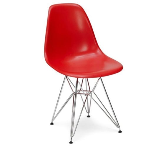 charles and ray eames style dsr chair in red