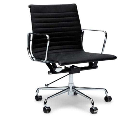 charles and ray eames style ea117 ribbed leather low back office chair in black