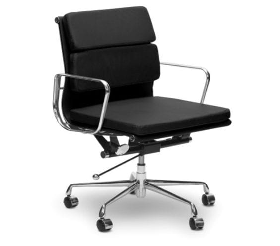 charles and ray eames style ea217 soft pad leather low back office chair in black