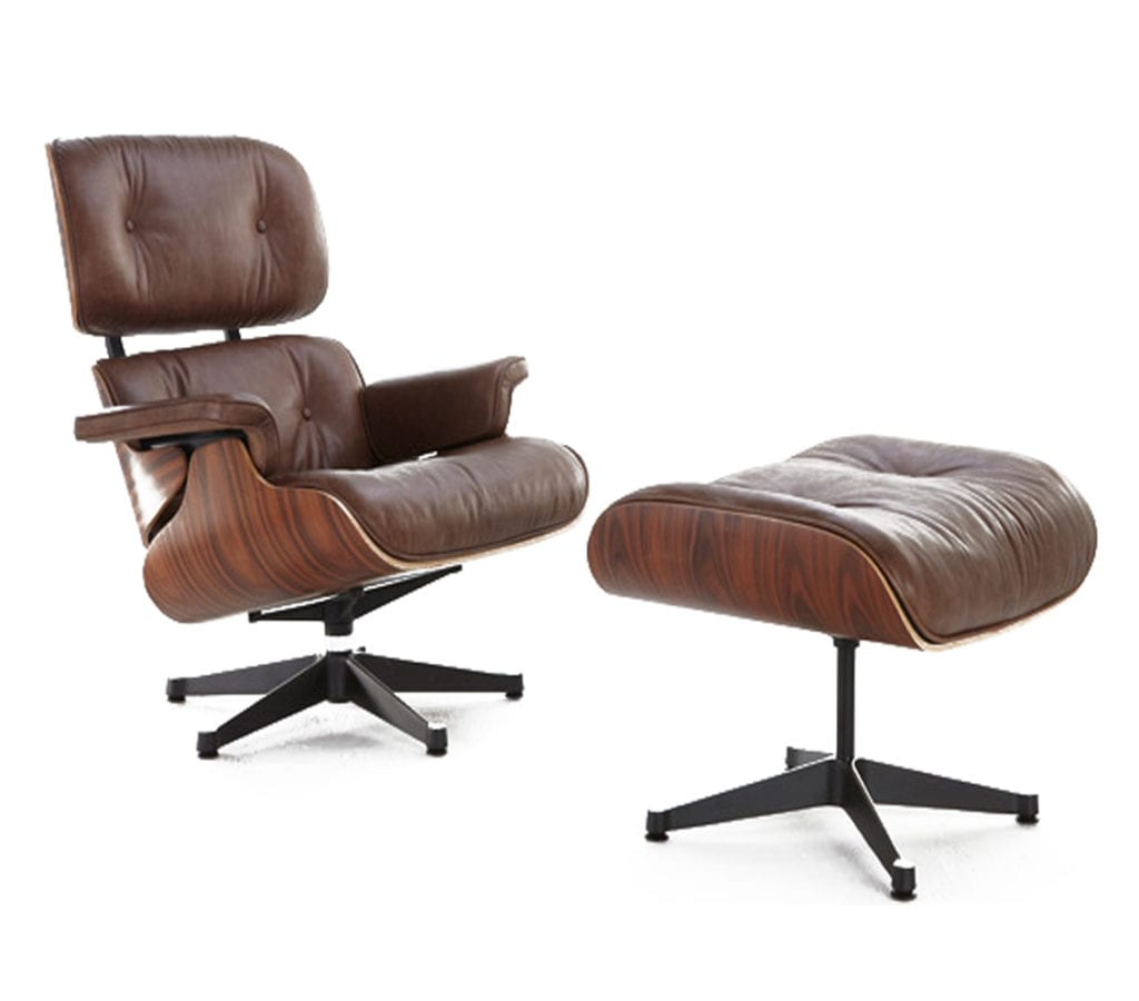 Walnut Brown Leather Charles And Ray Eames Style Lounge Chair And Ottoman L