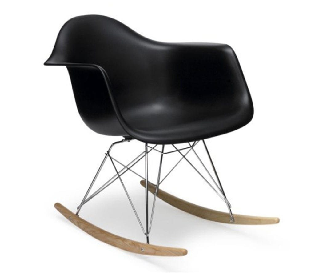 Black Charles And Ray Eames Style Rar Rocking Armchair Light Amp Glory