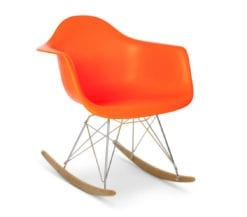 charles and ray eames style rar rocking armchair in orange