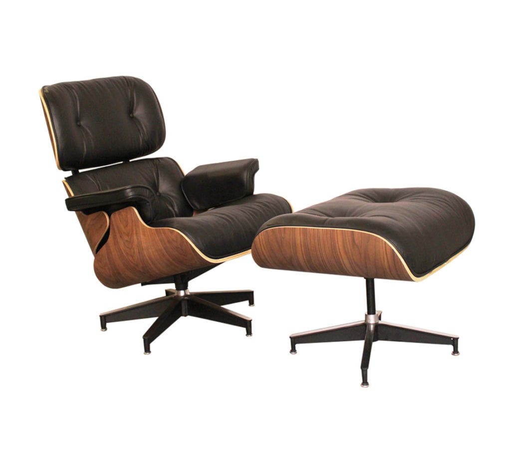 Walnut and black leather charles and ray eames style for Eames chair nachbau england