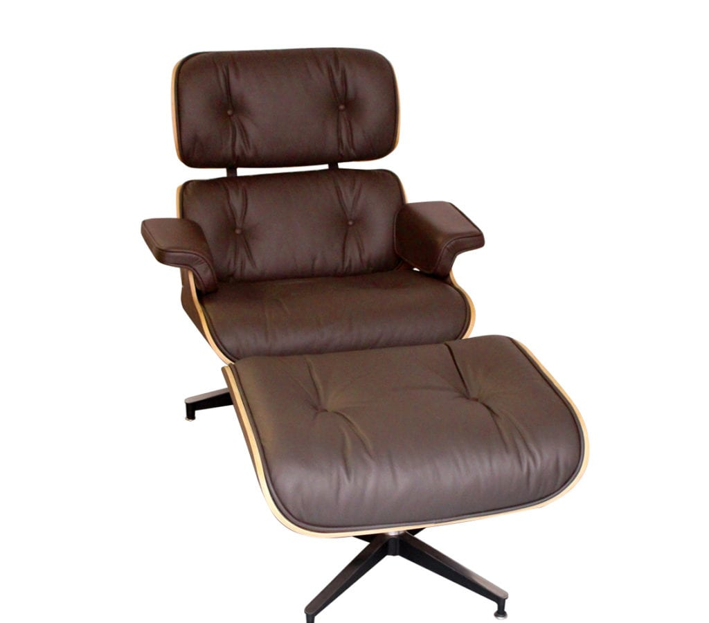 walnut brown leather charles and ray eames style lounge chair and ottoman light glory. Black Bedroom Furniture Sets. Home Design Ideas