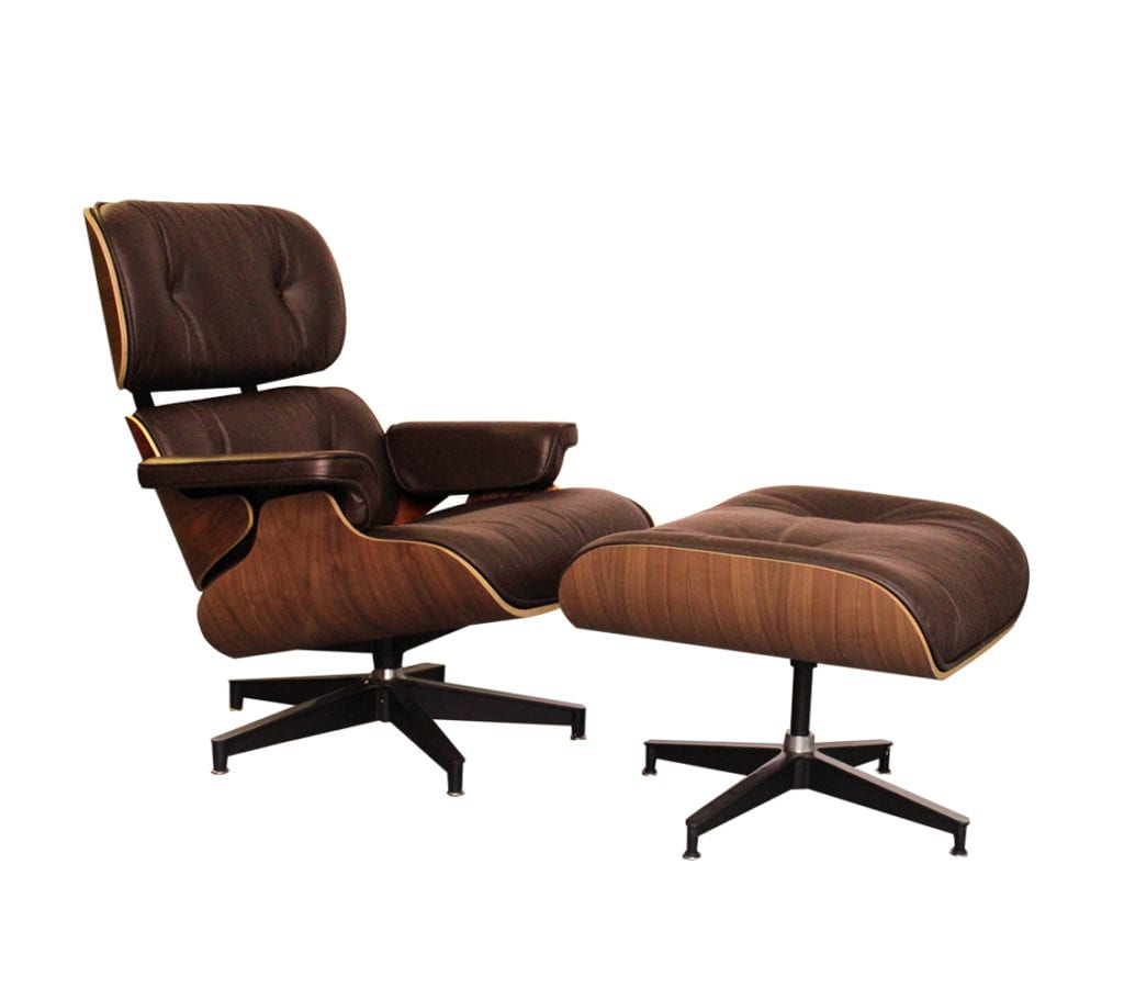 Charles Eames Style Brown Walnut Lounger Side Angle