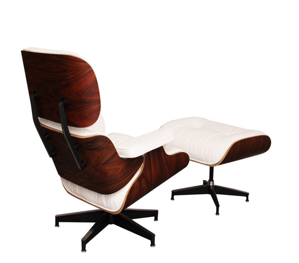 Rosewood white leather charles and ray eames style lounge for Chaise eames rose pale