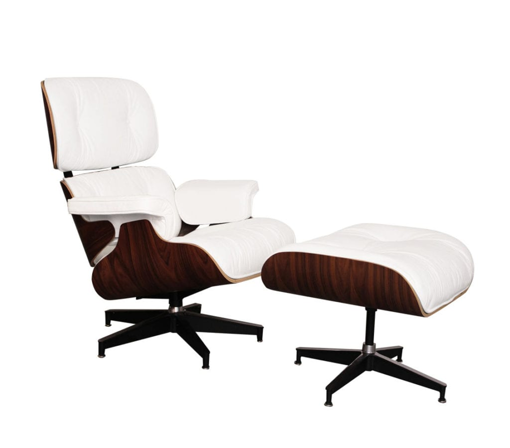 Tremendous Rosewood White Leather Charles And Ray Eames Style Lounge Chair And Ottoman Pdpeps Interior Chair Design Pdpepsorg