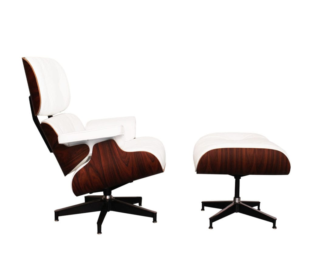 Rosewood White Leather Charles And Ray Eames Style Lounge