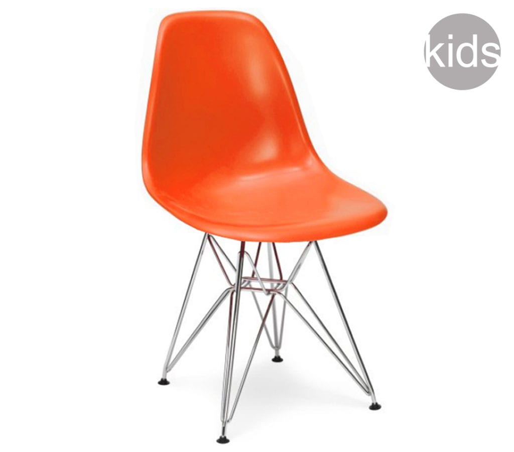Orange childrens charles and ray eames style dsr chair for Orange kids chair