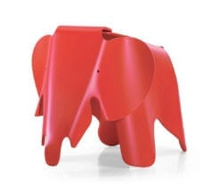 childrens charles and ray eames style elephant stool in red