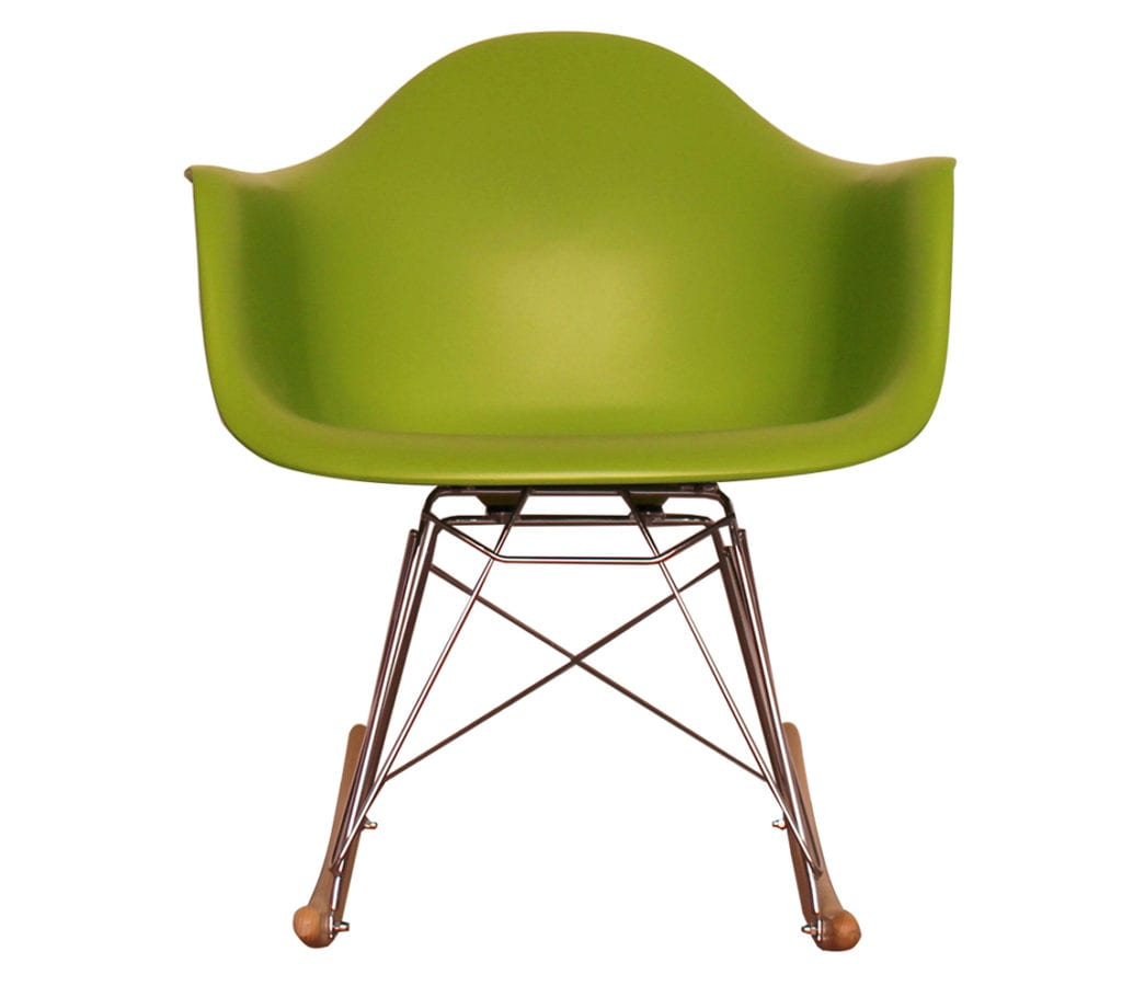 Green Charles And Ray Eames Style Rar Rocking Armchair