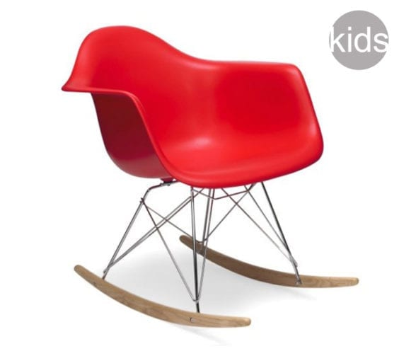 red childrens charles and ray eames style rar rocking armchair