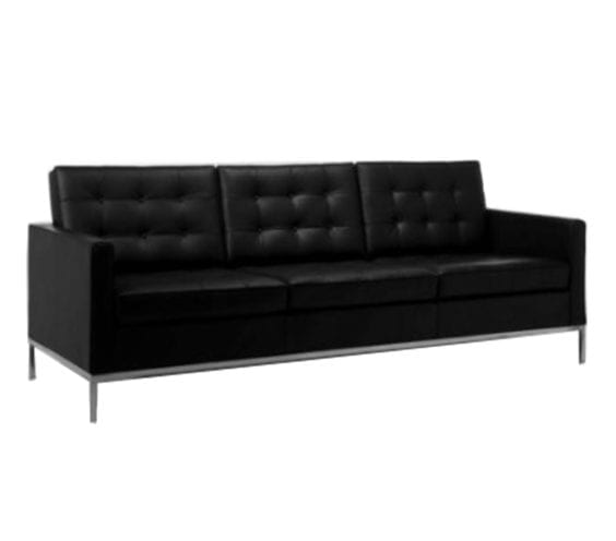 florence knoll leather three seat sofa in black