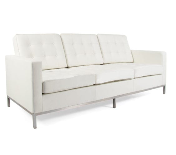 florence knoll leather three seat sofa in white