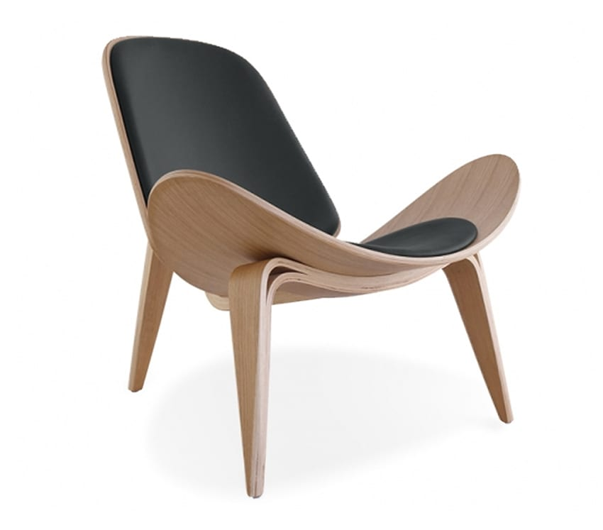 Hans J Wegner Style Smiling Shell Chair With Black Seat Cushion