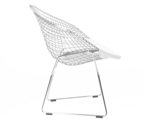 harry bertoia style wire diamond chair with white seat cushion