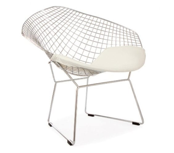 harry bertoia style wire diamond chair with white seat cushion front