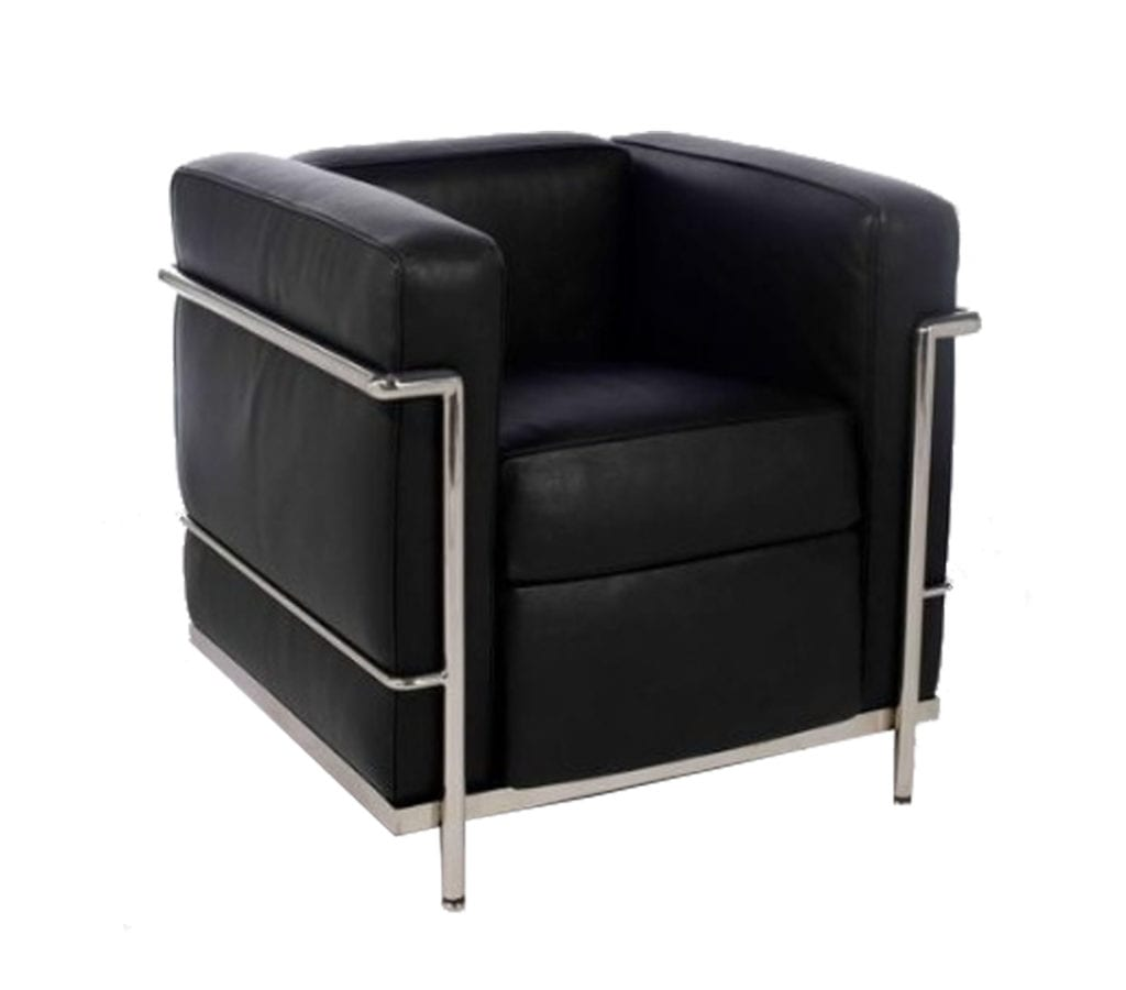 le corbusier style lc2 petit leather armchair light glory. Black Bedroom Furniture Sets. Home Design Ideas