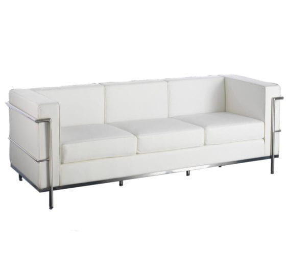 le corbusier style lc2 petit leather three seat sofa in white