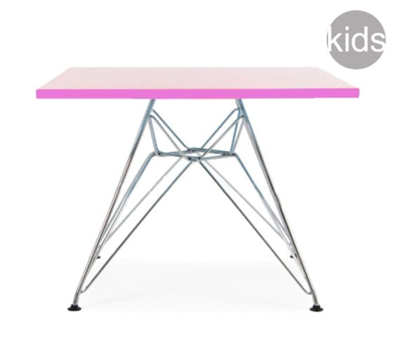 childrens charles and ray eames style square dsr table in pink