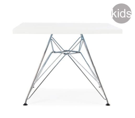 childrens charles and ray eames style square dsr table in white