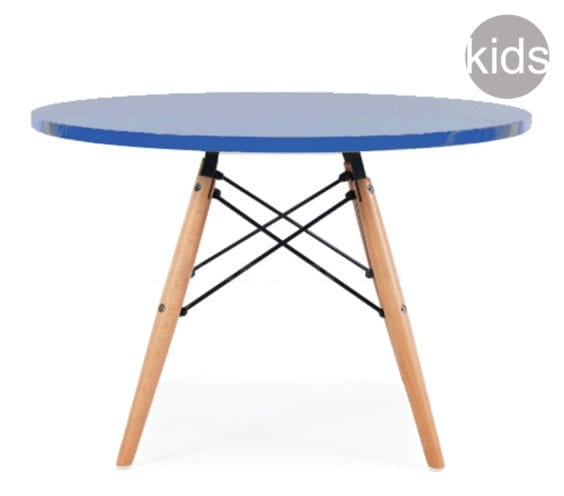 childrens charles and ray eames style dsw round table in dark blue