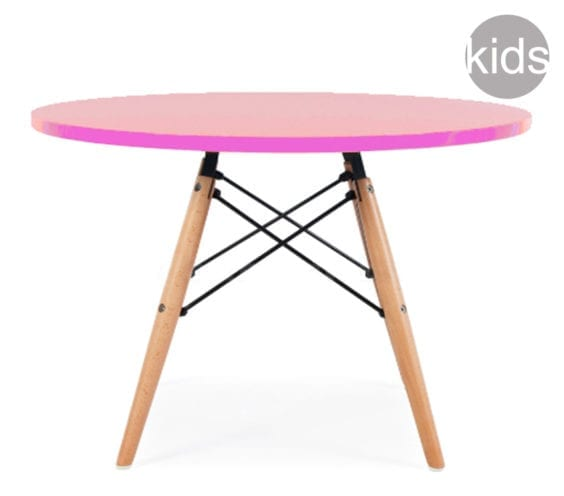 childrens charles and ray eames style dsw round table in pink
