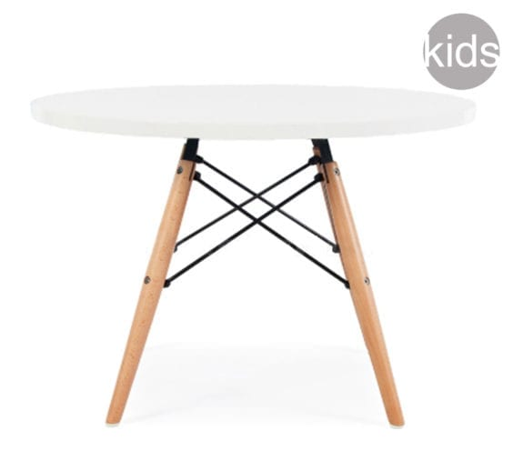 childrens charles and ray eames style dsw round table in white