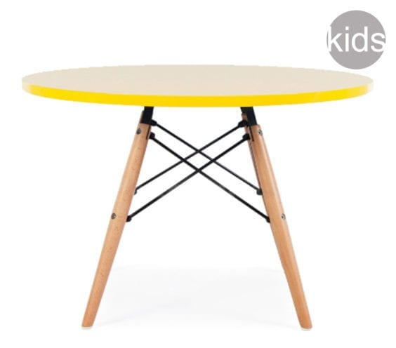 childrens charles and ray eames style dsw round table in yellow