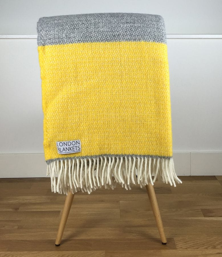 Kingston Blanket Grey Yellow Block Colour Wool Throw