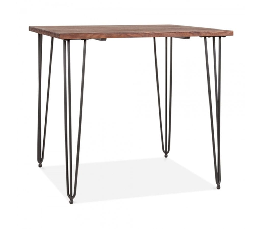 Arna Square Dining Table With Elm Wood Top And Black