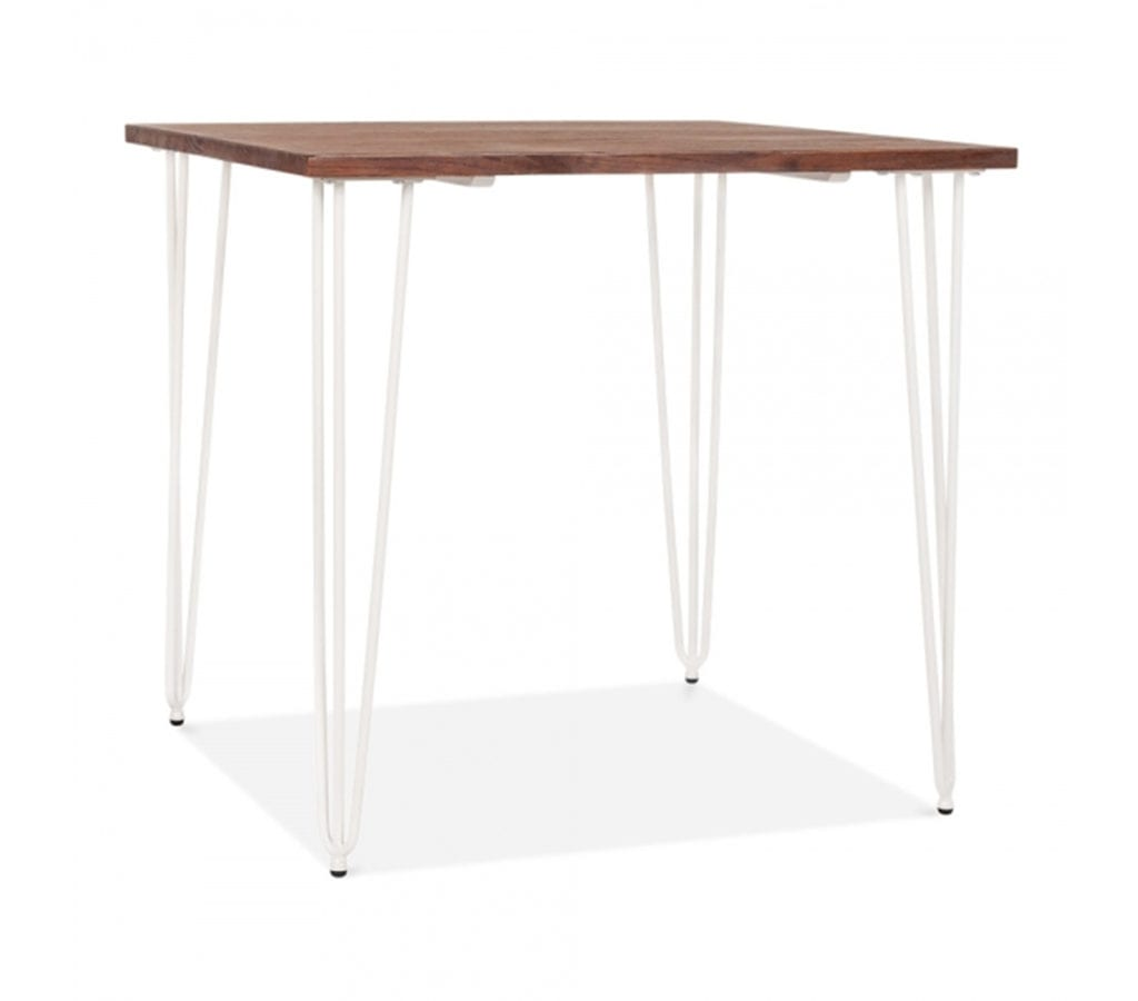 Arna Square Dining Table With Elm Wood Top And White