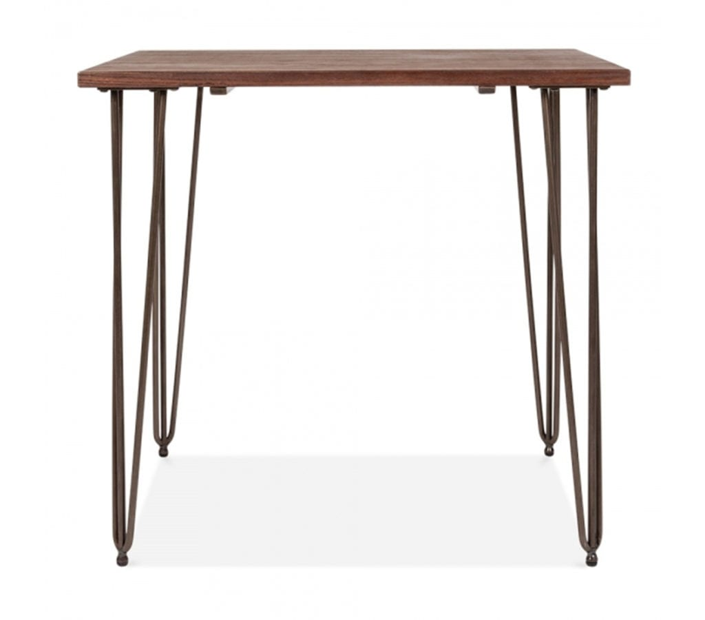 Arna Square Dining Table With Elm Wood Top And Vintage