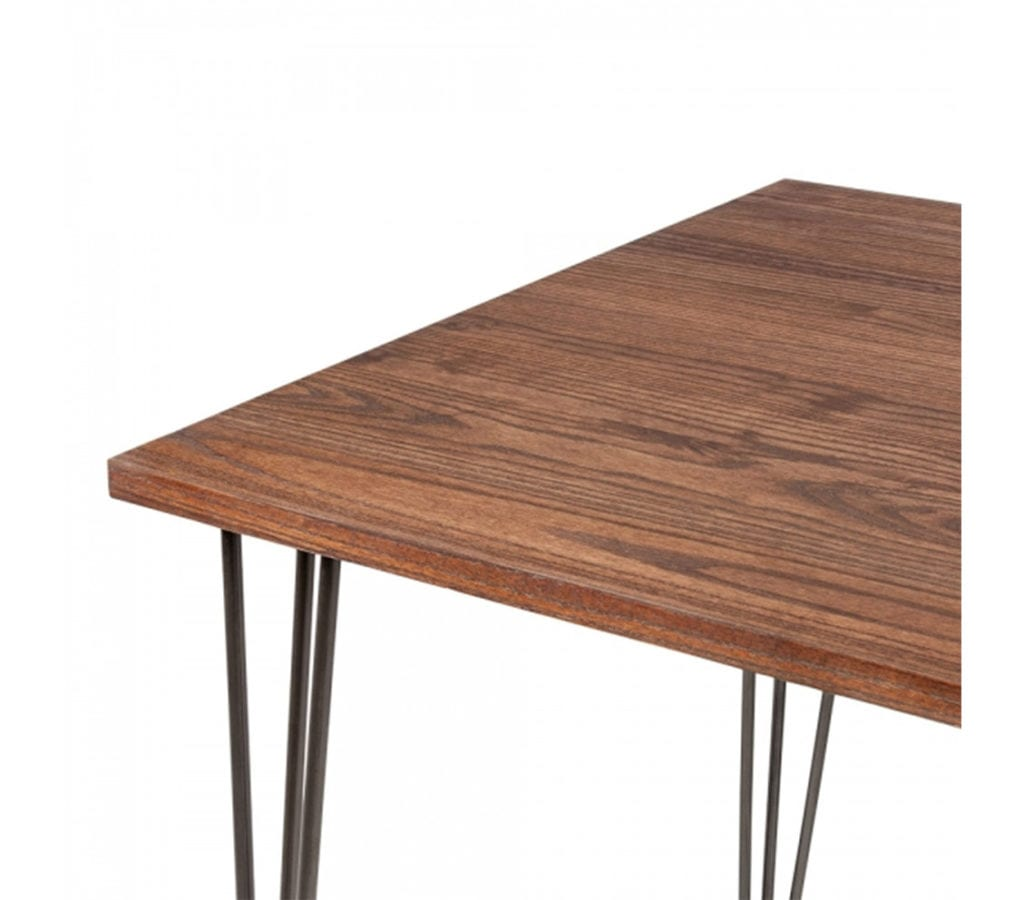 Arna square dining table with elm wood top and vintage for Square iron table legs