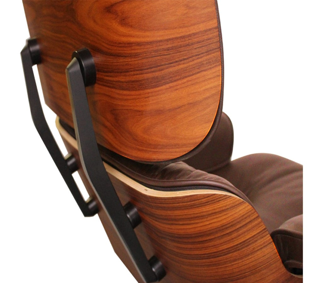 Rosewood Brown Leather Charles And Ray Eames Style Lounge