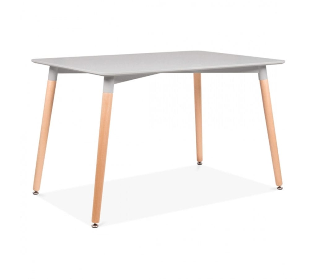 Elveram Rectangle Grey Dining Table With Beech Wood Legs