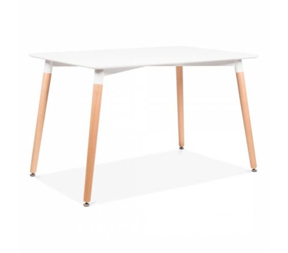 Elveram Rectangle White Dining Table With Beech Wood Legs 120cm