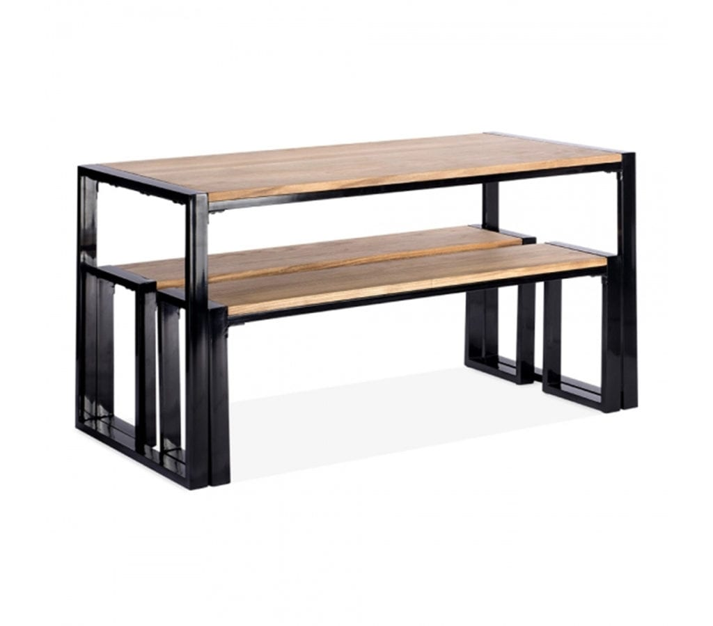 Floro Rectangle Dining Table With Wooden Top And Black