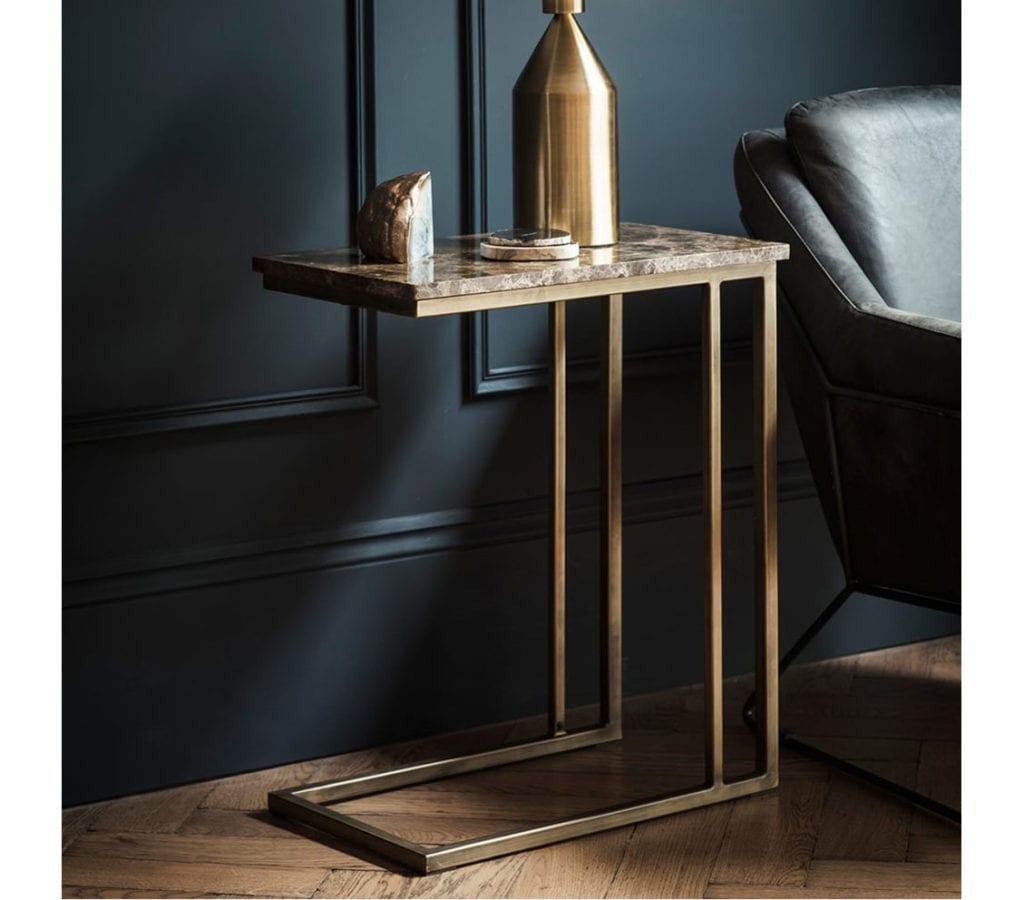Forde Contemporary Gold Side Table With Brown Marble Top