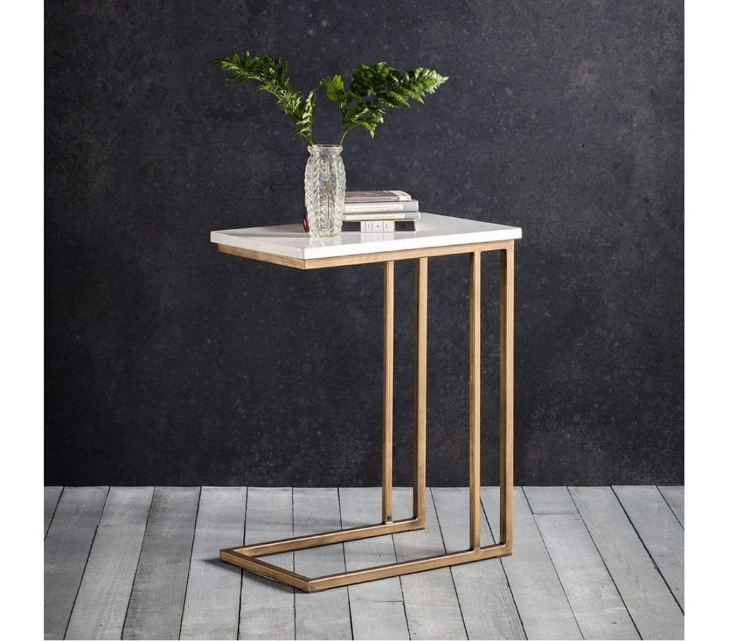 Forde Contemporary Gold Side Table With White Marble Top