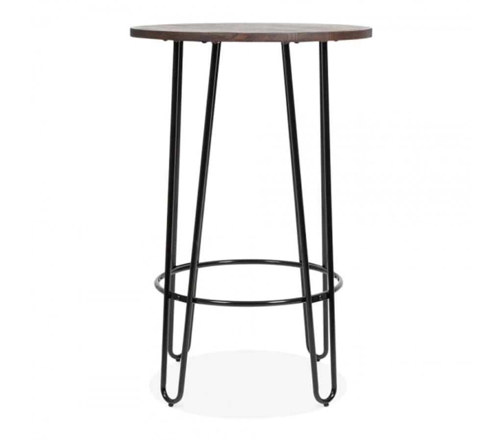Halden Black Wooden Top High Table With Hairpin Legs