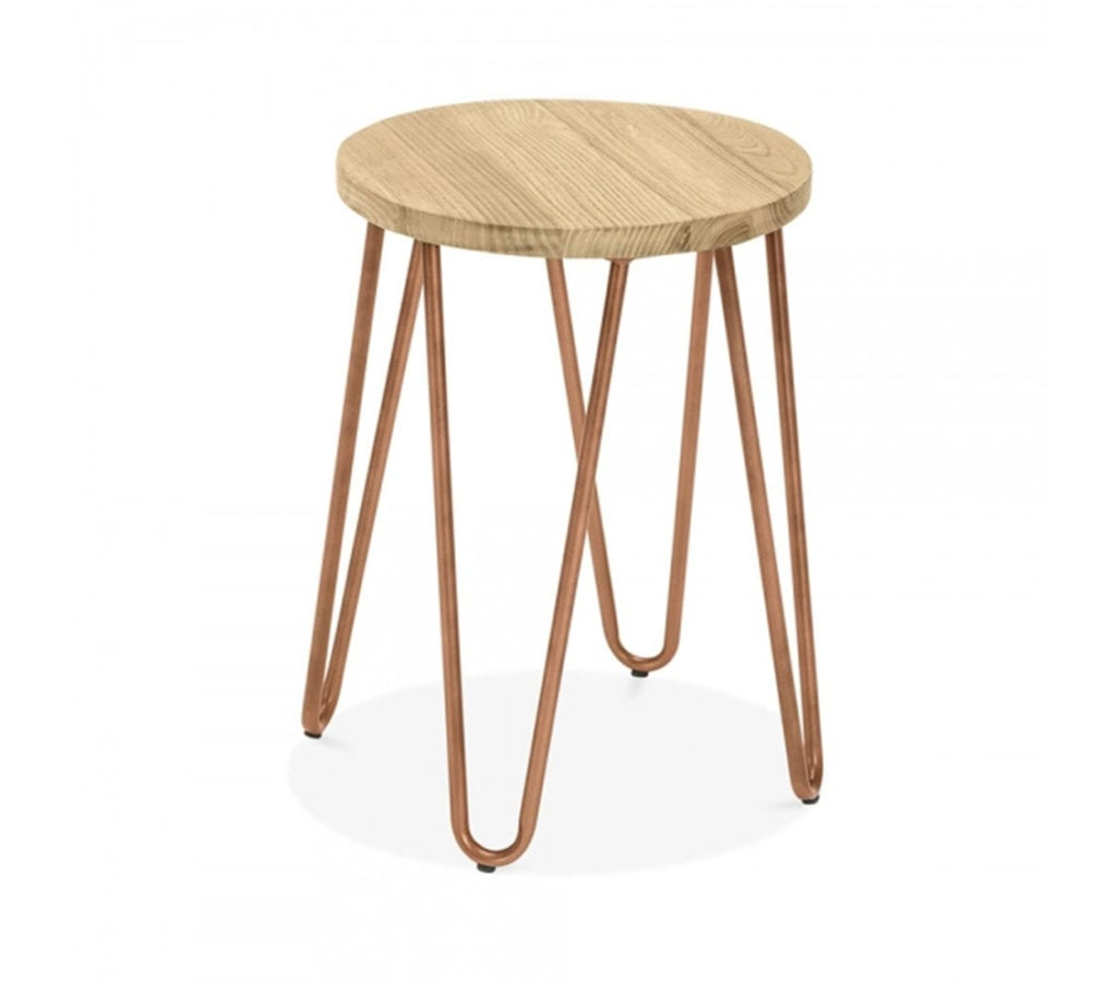 Herning Copper Hairpin Stool With Elm Wood Seat 46cm