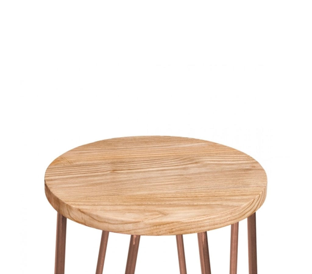 Herning Copper Hairpin Stool With Elm Wood Seat 66cm