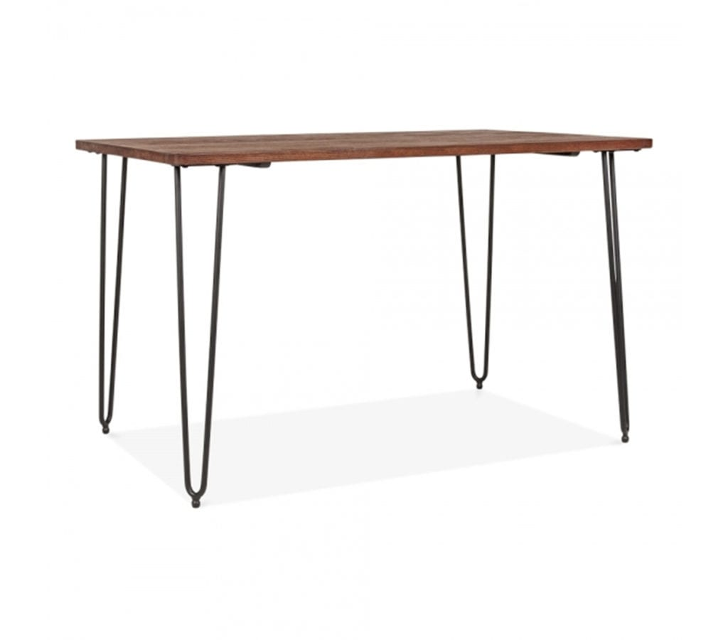Kergo Black Metal Hairpin Leg Dining Table With Solid Elm
