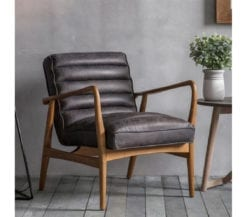 seri-mid-century-style-black-leather-lounge-chair-front-angle-2