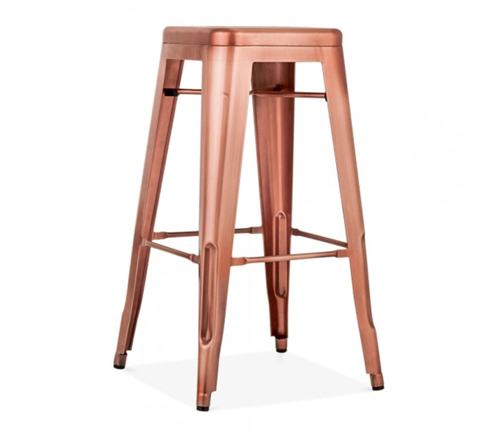 Tarnby Tolix Inspired Metal Stool In Copper 75cm Light